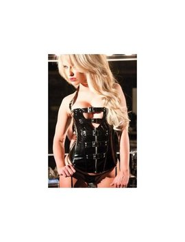 Vinyl Halter Corset Allure Leather 11 1527 Black by Allure Leather