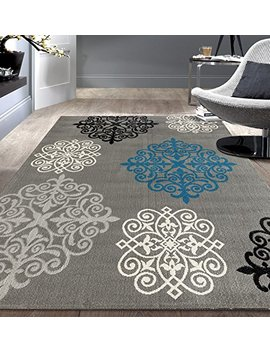 Rugshop Modern Geometric Damask Design Area Rug, 5' X 7', Gray by Rugshop