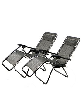 Xtremepower Us Zero Gravity Chair Adjustable Reclining Chair Pool Patio Outdoor Lounge Chairs W/ Cup Holder Set Of 2(Gray) by Xtremepower Us