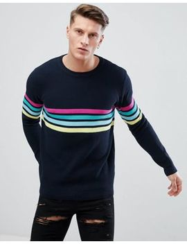 Pull&Bear Multi Color Stripe Sweater In Navy by Pull&Bear