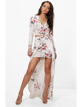 Danielle Floral Crop & Maxi Skirt Co Ord Set by Boohoo