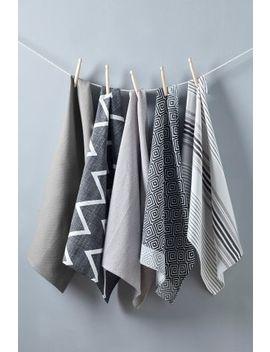 Set Of 5 Grey Geo Design Tea Towels by Next
