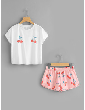 Cherry Print Tee And Shorts Set by Shein