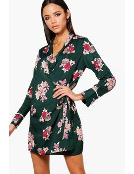 Janae Wrap Floral Shirt Dress With Piping by Boohoo