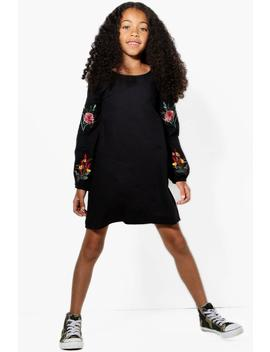 Girls Embroidery And Ruffle Sleeve Dress by Boohoo