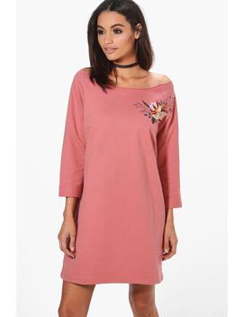 Charlotte One Shoulder Embroidered Sweat Dress by Boohoo