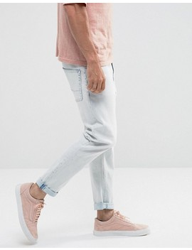 Asos Tapered Jeans In Heavy Bleach Wash by Asos
