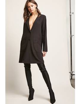 Longline Button Front Blazer by F21 Contemporary