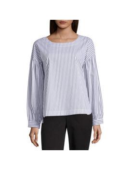 Worthington Modern Fit 3/4 Sleeve Stripe Button Front Shirt by Worthington