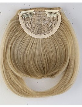 8 Inches One Piece Straight Bang Clip In On Bangs Fringe Hair Extension Extensions Fashion Womens Girls Choice Ash Blonde Mix Bleach Blonde by Uk Pnc Shopping Mall