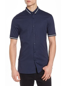 Muscle Fit Stripe Tipped Shirt by Topman