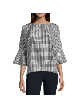 Alyx 3/4 Sleeve Boat Neck Woven Gingham Blouse by Alyx