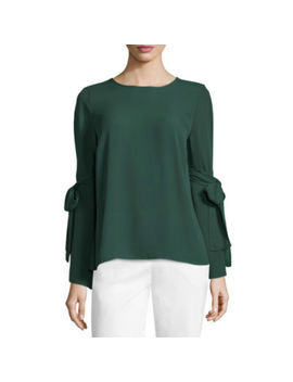 Liz Claiborne Tie Sleeve Scoop Neck Georgette Blouse by Liz Claiborne