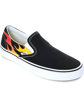Vans Slip On Flame Black &Amp; White Skate Shoes by Vans