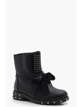 Lauren Stud & Ribbon Lace Up Worker Boot by Boohoo