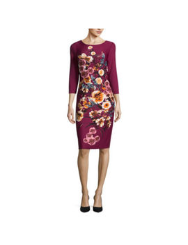 Worthington 3/4 Sleeve Floral Sheath Dress by Worthington