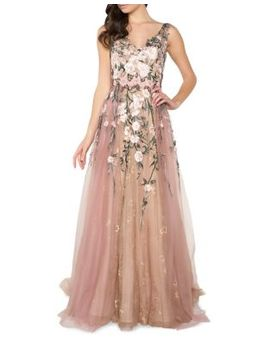 Floral Embroidery Floor Length Gown by Mac Duggal