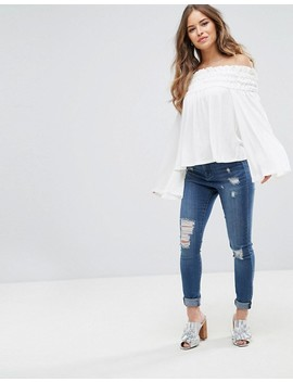 Asos Petite Off Shoulder Top With Shirring Detail by Asos Petite