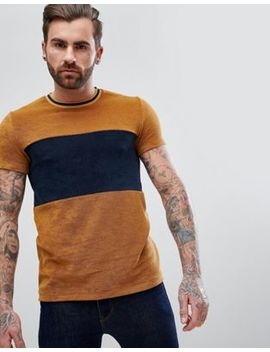 Asos T Shirt In Towelling With Cut And Sew Body Panel And Tipping In Tan by Asos