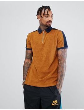 Asos Polo Shirt In Towelling With Contrast Panelling And Zip Neck by Asos