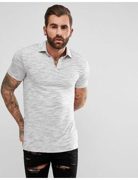 Asos Revere Polo Shirt In Gray Inject by Asos