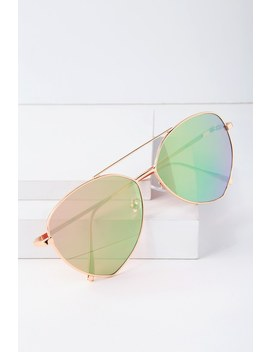 Vegas Vacay Rose Gold And Pink Mirrored Aviator Sunglasses by Lulus
