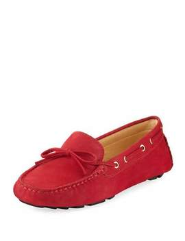 Alana Leather Flat Driver, Red by Neiman Marcus