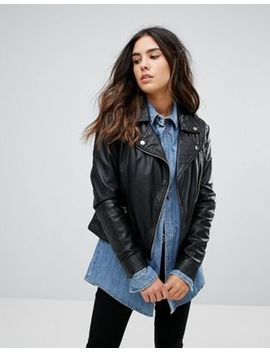 Barney's Originals Leather Quilted Biker Jacket by Jacket