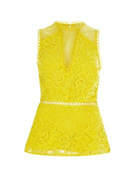 Yellow Lace Sleeveless Peplum Top                                  Yellow Lace Sleeveless Peplum Top by River Island