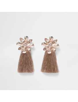 Rose Gold Tone Flower Tassel Earrings                                  Rose Gold Tone Flower Tassel Earrings by River Island