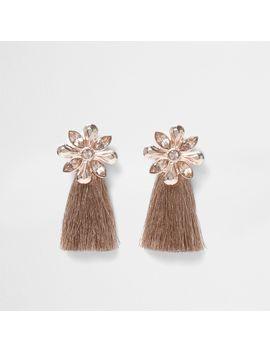 Rose Gold Tone Flower Tassel Earrings                                  Rose Gold Tone Flower Tassel Earrings by River Island