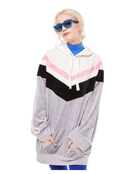 Colorblock Lightweight Velour Hooded Dress by Juicy Couture