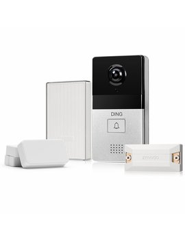 Ding Wi Fi Video Doorbell & 6 Month Cloud Storage   Smart Home Hub And Wi Fi Extender And 2 Pack Door/Window Sensors   All Inclusive Bundle by Zmodo
