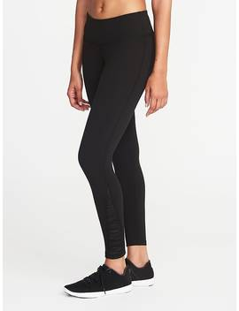 Mid Rise 7/8 Length Mesh Trim Compression Leggings For Women by Old Navy