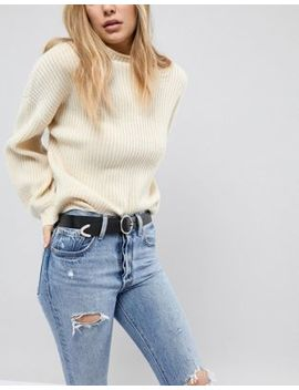 Asos Leather Circle Buckle Jeans Belt With Tipped End by Asos Collection