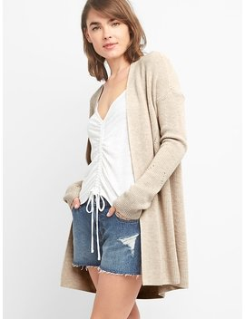 Open Front Shaker Stitch Cardigan Sweater In Merino Wool Blend by Gap