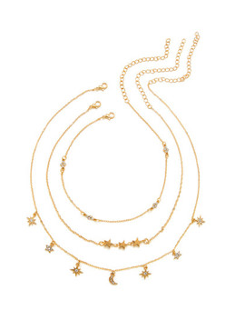 Star & Moon Design Chain Necklace 3pcs by Sheinside