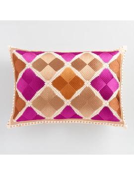 Warm Diamond Embroidered Lumbar Pillow by World Market