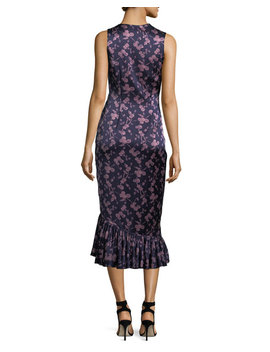 Nanon Sleeveless Ruched Floral Print Midi Cocktail Dress by Cinq A Sept