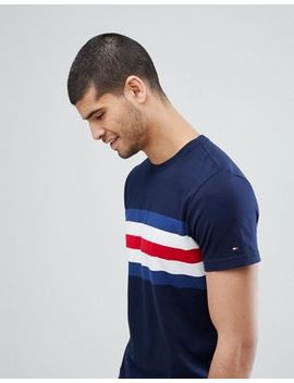 Tommy Hilfiger Lars Icon Chest Stripe T Shirt In Navy by Tommy Hilfiger