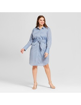 Women's Plus Size Long Sleeve Belted Shirtdress   Who What Wear™ by Who What Wear