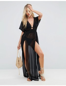 """<Font Style=""""Vertical Align: Inherit;""""><Font Style=""""Vertical Align: Inherit;"""">Asos Chiffon Beach Caftan In Maxi Length With Elastic Waist</Font></Font> by  Asos Collection"""