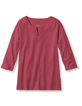 Pima Cotton Tunic, Three Quarter Sleeve Splitneck by L.L.Bean