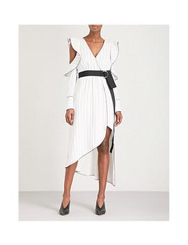 Monochrome Asymmetric Crepe Wrap Dress by Self Portrait