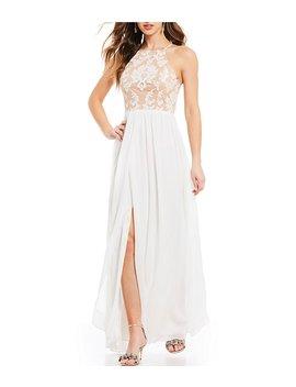 Jodi Kristopher Sequin Pattern Bodice Long Dress by Jodi Kristopher