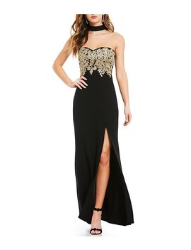 Sequin Hearts Choker Neck Embroidered Long Dress by Sequin Hearts
