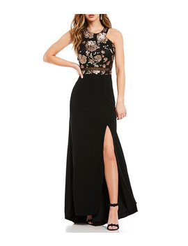 Morgan & Co. Floral Sequin Bodice Long Dress by Morgan & Co.