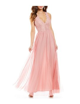Jump Lace Bodice Glitter Ball Gown by Jump