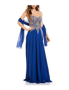 Coya Collection Strapless Embroidered Bodice Long Dress by Coya Collection