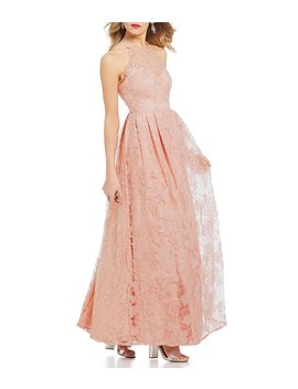 Morgan & Co. Sequin Embellished Floral Long Dress by Morgan & Co.